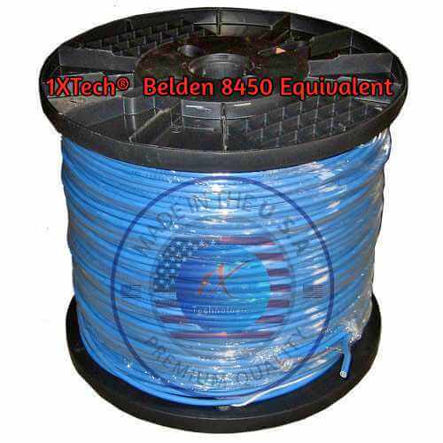 """Belden 8450 Cable Price, English PDF Specifications, Cross Reference [Equivalent] Manufacturer """"EZ"""" Part Number Description: 1XB8450EQ [ Belden 8450 Cable Cross-Reference Equivalent ] 22 AWG solid tinned copper conductors, polypropylene or SR-PVC insulation, 1 twisted pair, overall 1XTech® foil shield (100% coverage), 22 AWG solid TC drain wire, 1XTech® LS-PVC jacket. Scientifically designed and proven for use in place of Belden 8450."""