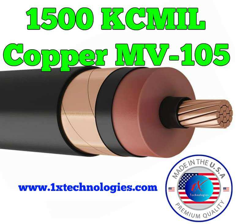"1500 KCMIL Copper 15KV MV105 Cable Price Medium Voltage Power Cable - 15,000 Volts Manufacturer ""EZ"" Part Number Description: MV105-1500ENV15KV 1500 MCM/1500 KCMIL Copper 15KV 133% Low Friction EPR, TR-XLP, or EnviroTech®  Toxic Free and Recyclable TPO Thermoplastic Olefin Proprietary Blend [EnviroTech® Outperforms XLP & EPR and is environmentally friendly], 5 mil Copper Tape Shield with Overall 1XTech® Low Smoke Zero Halogen XLPO Jacket, Shielded 15kV, UL 1072 Medium Voltage Power Cable, Type MV-105. Scientifically designed and proven for use in the most strenuous Medium Voltage Power Applications. Advanced Cable Specification."