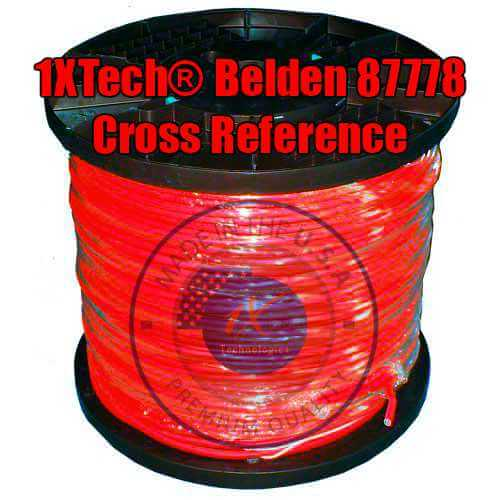 "Belden 87778 Cable Cross Reference Price / Pricing, Specification English PDF [ Equivalent ] Manufacturer ""EZ"" Part Number Description: 1XB87778EQ 22 AWG stranded (7x30) TC conductor, FEP insulation, 6 twisted pairs individually shielded with 1XTech® Foil Shield (100% coverage), overall Teflon® PVDF jacket, 22 AWG stranded TC drain wire, CMP Rated (Plenum) Cable, Made in the USA. Scientifically designed and proven for use in place of Belden 87778."