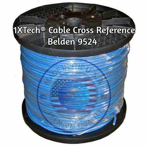 "Belden 9524 Cable Cross Reference Price / Pricing, Specification English PDF [Equivalent] 1X Technologies Manufacturer ""EZ"" Part Number Description: 1XB9524EQ 22 AW stranded (7x30) tinned copper conductors, 15 twisted pairs, FR-PVC insulation, overall 1XTech® Foil shield (100% coverage), Durablend® Low Smoke PVC jacket. Scientifically designed and proven for use in place of Belden 9524."